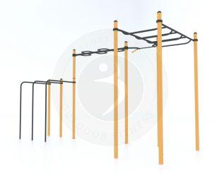 מערכת פונקציונאלית הכוללת סולם אופקי, מערכת מתחים לשינויי אחיזות, מוטות מתח לארבעה משתמשים וזוג מקבילים פרללים.