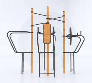 מתקן פונקציונאלי לשישה מתעמלים בשילוב ארבעה עמודות מתח, זוג מקבילי כנף וזוג עמדות לחיזוק בטן תחתונה