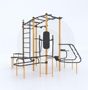 מערכת אימון 360, כוללת סולם אופקי, ספת בטן, זוקפי גב, ידיות לאימון שכיבות סמיכה בסולם מאמצים, עמדה לכיפוף ברכיים, סולם שבדי, מתח לולאות ומדרגות קפיצה אירוביות