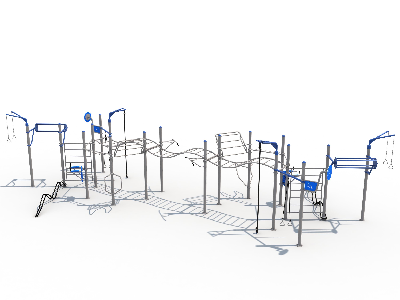 מתקן כושר פונקציונלי ציבורי  דגם אדיר ספרטקוס כפול מהסדרה האתגרית 26 תחנות אימון